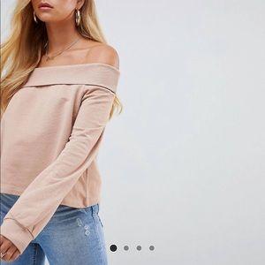 ASOS off shoulder sweatshirt in nude